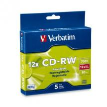 Verbatim CD-RW 4x-12x 700MB Slimcase - 5 Pack