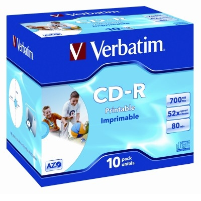Verbatim CD-R 52X 700MB White Inkjet Hub Printable CD Discs - 10 Pack with Jewel Case