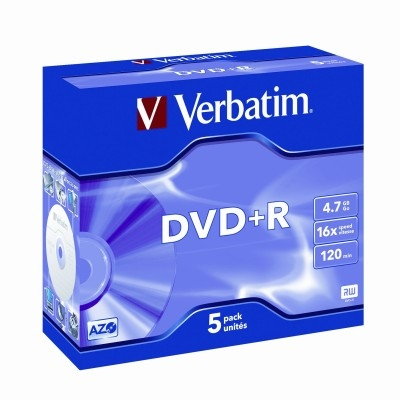 Verbatim DVD+R 16x 4.7GB Jewel Case - 5 Pack