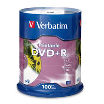 Verbatim DVD+R 4.7GB 100 Pack White InkJet 16x