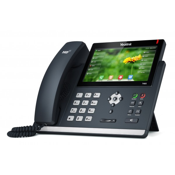 Yealink SIP-T48S Ultra Elegant Dual Port PoE Gigabit VOIP Phone with 7 Inch Touchscreen